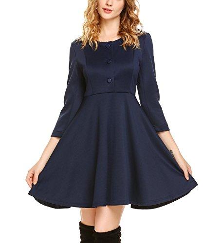 Skaterkleid Dunkelblau Tunika Kleid Elegant Cocktailkleider Swing Blau Retro Kleid Damen 50er Jahre...
