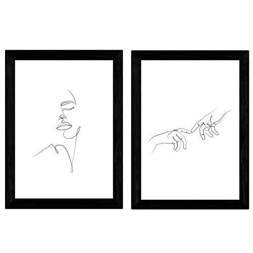 Nacnic Satz von 2 Blatt Zeichnungen mit einem Schlag
