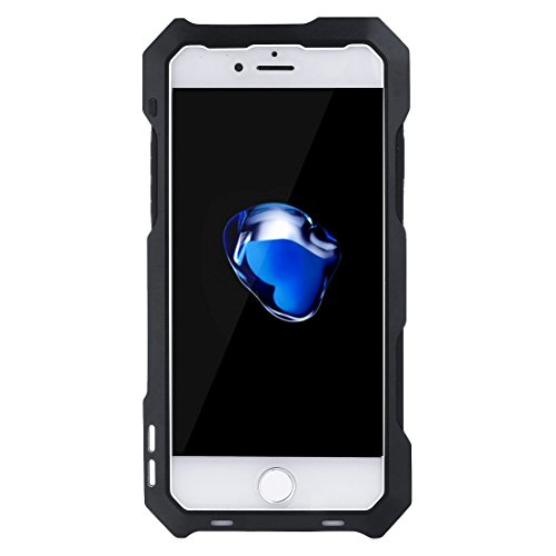 GHC Cases & Covers, Für iPhone 7 wasserdichte Shockproof staubdichte Aluminiumlegierung schützende Fall-rückseitige Abdeckung mit 3 Kamera-Objektiv (198 Grad Fisheye Objektiv + 0.63X Weitwinkelobjekti Black