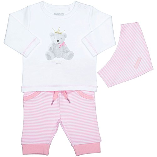 Unisex Baby 3-teiliges Geschenkset   Langarm-Shirt Hose Halstuch   White Rosa Größe 62 für Jungen und Mädchen