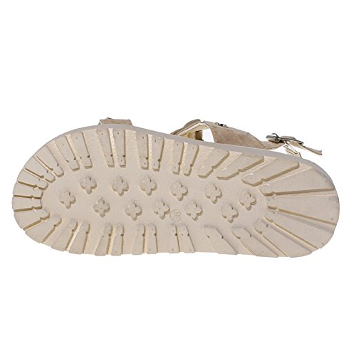 Zicac Damen Flache Sandalen Offene Quasten Metall Gürtelschnalle Sandalen Sommer Casual Schuhe Aprikose