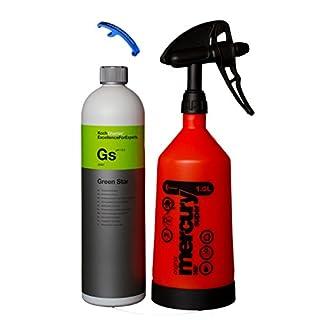 HEWADI® Set Pflege Set Koch Chemie Green Star und Kwazar Mercury Sprühflasche 360 Grad 1,0 Liter, Inklusive Flaschenöffner von Advanced23