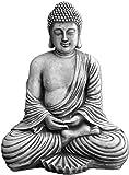 gartendekoparadies.de Großer masssiver Stein - Buddha Tempelwächter aus Steinguss frostfest (Grau)
