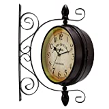 Bluelliant Reloj De Pared Doble Cara Estación De Tren Cocina Oficina Habitacion Salon Vintage Retro 20 Cm A Pilas Hierro Industrial Metal Nordico Rustico