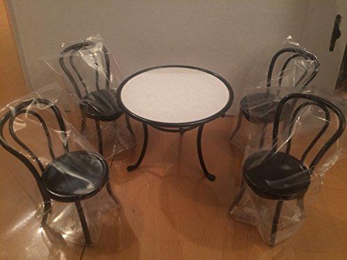 Preisvergleich Produktbild Puppenhaus Zubehör, Eßzimmertisch, rund mit 4 Stühle in schwarz
