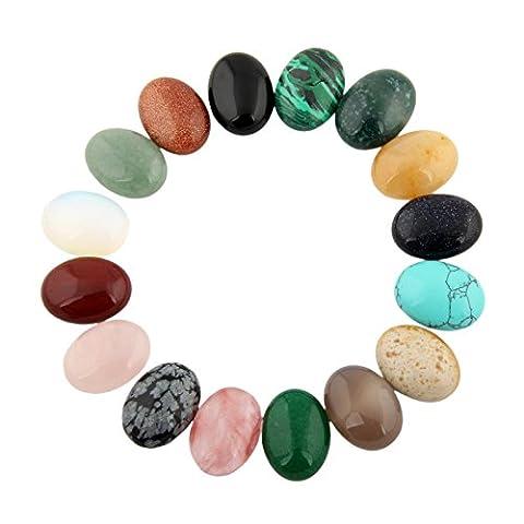 Cmidy Assorted 12pcs 20x15mm Gemstone Oval Teardrop Randow Color CAB Cabochon Beads Healing Crystal Quartz Stone Wholesale for Jewelry