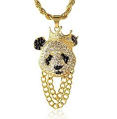 Idea Regalo - Halukakah ● Panda King ● Uomo Maschile 18K 18 Carati Placcato Oro Reale Cz Pieno Diamante Corona Panda Pendente Collana con Catena di Corda Gratuita 75cm(30