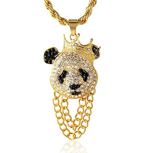 Halukakah ● panda king ● uomo maschile 18k 18 carati placcato oro reale cz pieno diamante corona panda pendente collana con catena di corda gratuita 75cm(30