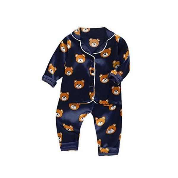 Conjunto de Trajes de niños pequeñosNiño Bebé Niños Manga Larga Dibujos Animados Oso Tops + Pantalones Pijamas Ropa de… 4