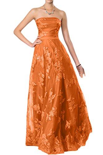 Victory Bridal Romantisch Flieder Spitze Traegerlos Damen Abendkleider Ballkleider Partykleider A-linie Orange