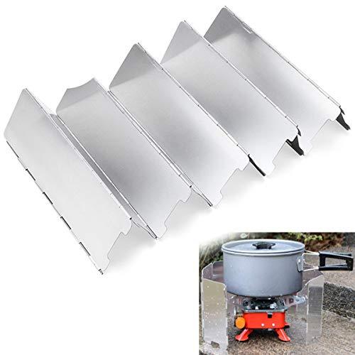 cjixnji Pare-Brise de Camping, Pare-Brise en Alliage D'aluminium, 10 Plaques de Camping en Plein Air Pliable Cuisinière Wind Screen Cuisinière à Gaz avec Un Sac de Rangem