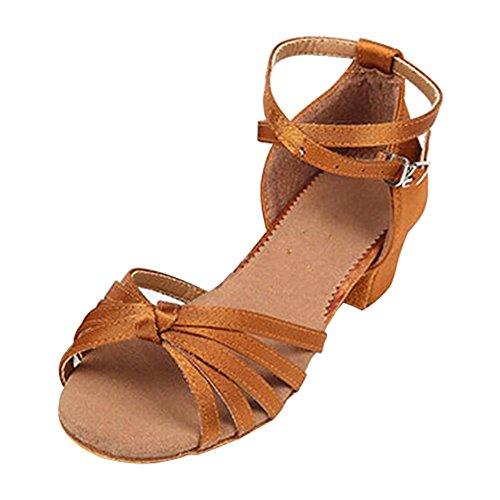Eastlion Ballsaal Salsa Tango Schuhe Latin Dance Schuhe Tanz Sandalen für Frauen und Mädchen Praxis Schwarz+Rot