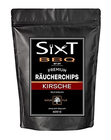 Räucherchips KIRSCHE PREMIUM Original von Sixt-BBQ, Wood-Chips für Kugelgrill & Barbecue, Rauch durch Holz-Späne, natürlich süßer Geschmack, für Gas/Elektro/Kohle-Grill