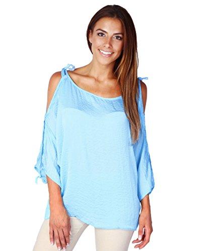 5151-BLU-ML: Seidiges Schulterfreies Shirt (Blau, Gr.M/L) (Vintage 80er Jahre T Shirts)