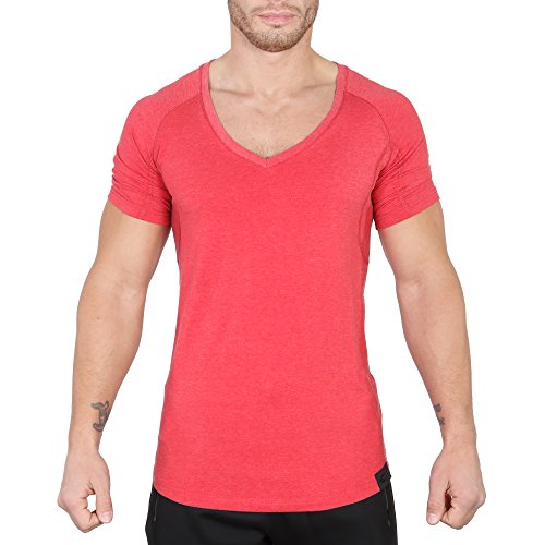 Smilodox Herren V-Neck T-Shirt Reloaded Rot