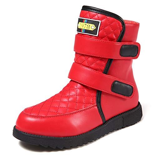 Harpia Leder Stiefel Mädchen Rot, Teenager Schöne Mädchen Winter Stiefel Warme Stiefel aufbewahren (Rot, 32 EU)