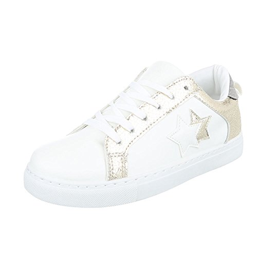 Ital-Design - Low-top Donna Weiß Gold