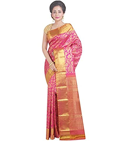 Indian Ethnic Pure Kanjeevaram Silk Pink Handloom