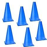Dcolor 6 Stueck Multifunktion Sicherheits-Agility-Kegel fuer Fussball-Sportplatz Notfalluebung Kennzeichnung - blau