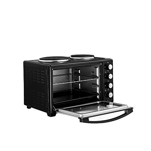 Mini four électrique avec 2 plaques de cuisson four à convection Four et Cuisinières 1600W 38L Noir Bs plug (Noir, 30L)