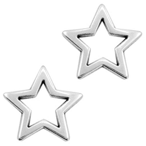 Sadingo DQ Metallanhänger Stern Silber, offen, Verbinder, Charm - 2 Stück - 18 mm - DIY Schmuck, Armband selber basteln