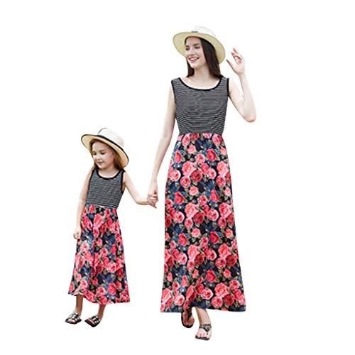 xmansky Kinder kleiden,Mädchen Sleeveless Blumen Stitching Familie ausgestattet Modelle Maxi ()