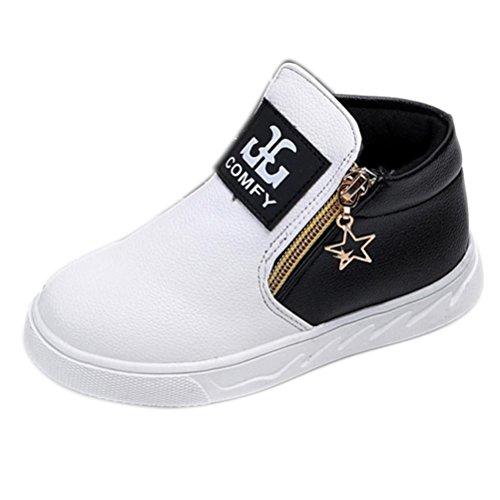 Igemy 1 Paar Kinder Beiläufig Sport Jungen Mädchen Mode Martin Stiefel Sneakers Schuhe (30, Weiß)