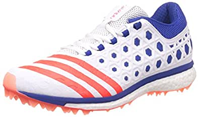 Adidas Men's Adizero Boost Sl22 White, Red and Blue Cricket Shoes - 13 UK