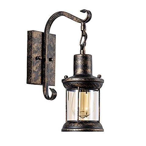 Vintage Wall light Industrial Lighting(Glass Cover) Retro Metal Wall lamp Indoor Home Lights Fixture(Single lamp-Base Painted with Oil Rubbed Bronze)