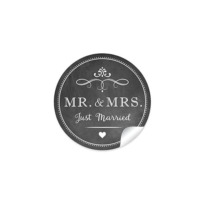 """24 STICKER: 24 Retro Hochzeitsaufkleber""""MR. & MRS. - Just Married"""" (A4 Bogen) im""""Kreide-Tafel-Look"""" in anthrazit im Vintage Style zur Hochzeit • Format 4 cm, rund, matt • Hochzeits CUPCAKE Deko 1"""