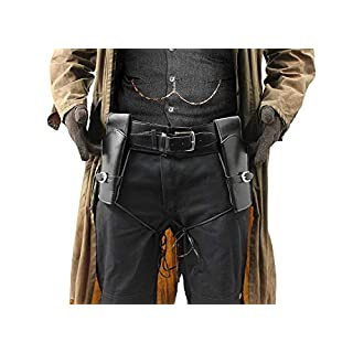 ADULTS DELUXE TWIN GUN HOLSTERS FAUX LEATHER COSTUME ACCESSORY PERFECT FOR WESTERN COWBOY WILD WEST ARMY POLICE SECRET AGENT FILM BOOK CHARACTER FANCY DRESS PARTY (SIZE STANDARD -102CM - UP TO 40