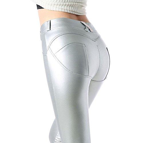 Damen Leggings Leder Strumpfhosen Treggings Hose Skinny Kunstleder PU Lederhose Leggins Yoga Hosen Silbrig S hibote