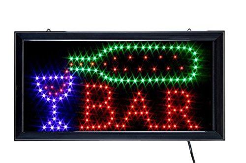LED Schild Leuchtreklame, Motiv: BAR, Maße: 43,5 x 23,5 cm Bar Tafel