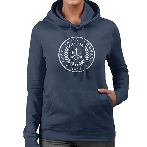Taboo East India Company Coin Logo Distressed Style Women's Hooded Sweatshirt Navy Blue