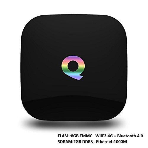 Preisvergleich Produktbild Riyc Q-Box Android 5.1 TV Box / 2GB SDRAM + 16GB eMMC / Amlogic S905 Quad-Core CPU / Mali-450 5-Core GPU / KODI(XMBC) mit Add-Ons vorinstalliert / 4K Bluetooth USB SD RJ45 AV SPDIF Streaming Media Player (Q Box)