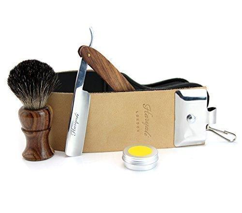 Pure Rose Holz gemacht schwarze Dachs Haar Rasur Pinsel mit hölzernen geraden Rasiermesser, Double xl Leder Strop mit Paste. -