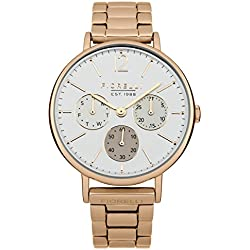 Fiorelli Women's Quartz Watch with White Dial Analogue Display and Rose Gold Stainless Steel Bracelet FO002RGM