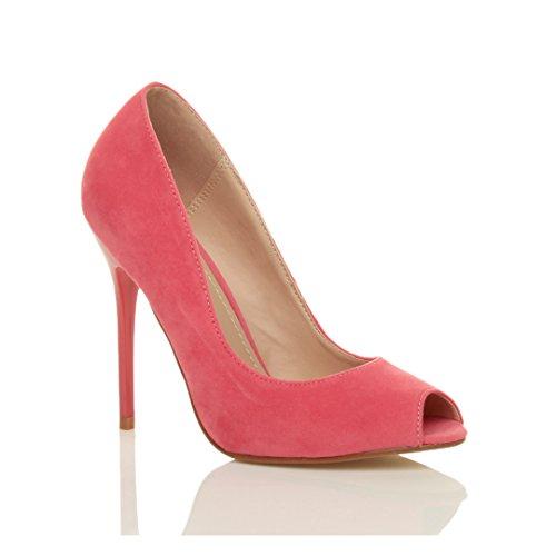 Ajvani Femmes Haut Talon Partie Ouverte Peep Toe Décolleté Chaussures Sandales Nombre Corail Daim