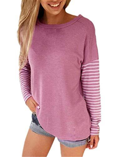 Sweatshirts Damen Patchwork Gestreift Pullover College Sweatshirt Lässige Perfect Basic Oberteil Langarm Rundhals Tops Elegant Moderne T Shirt Style (Color : Pink, Size : L)