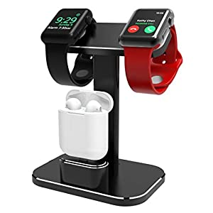 YOMENG Ladestation für Apple Watch, 2-in-1-Aluminium für Watch Charger Dock Station-Halter für Airpods und Iwatch-Serie 1/2/3/4 (38 mm, 42 mm, 40 mm und 44 mm kompatibel)