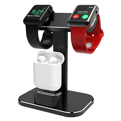 YOMENG Ladestation für Apple Watch, 2-in-1-Aluminium für Watch Charger Dock Station-Halter für Airpods und Iwatch-Serie 1/2/3/4 (38 mm, 42 mm, 40 mm und 44 mm kompatibel) -