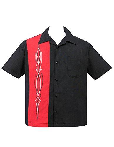 Steady Clothing Herren Vintage Bowling Hemd - Hot Rod Pinstripe Rot Panel Retro Bowling Shirt M