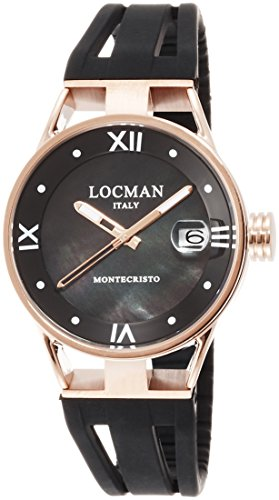 Locman Montecristo/Women's/Watch Black Mother of Pearl Dial/Speaker, titanium steel and PVD Rose/Black Silicone Strap