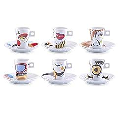 Idea Regalo - Zeller 26505 Set Tazzine da caffè Faces, Porcellana, 0.1x5x6.7 cm, 12 unità