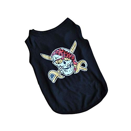 Süß Atmungsaktive schwarze Weste des Haustierwelpen Haustierkleidung kleidet kleine T-Shirt Weste Baumwollatmungsfähiger böser Schädeldruck Für Welpen Small Medium Dog (Color : Black, Size : M) Böse T-shirt Sweatshirt