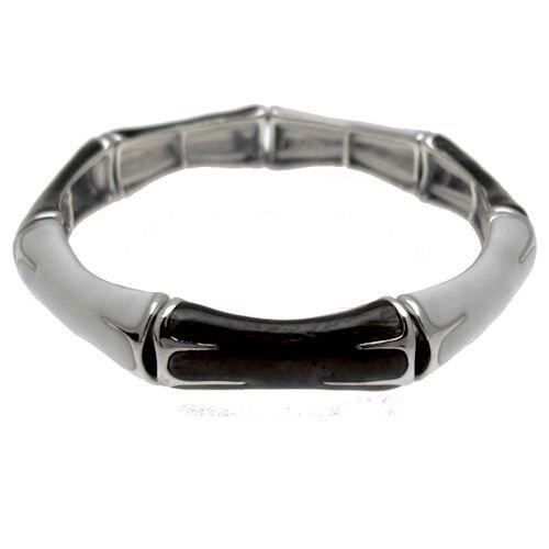 Acosta Jewellery Weiß & Braun Metallic Emaille links–Stretch Fashion Schmuck Armband (Silber Farbige)–in Geschenkverpackung