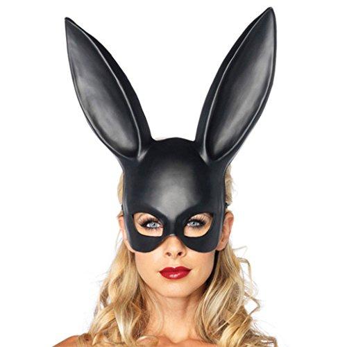 CJJC Kaninchen Maske, Mädchen Persönlichkeit Kreative Halloween Prom Bar Party Bunny Ohrmasken, Requisiten Zubehör,Black