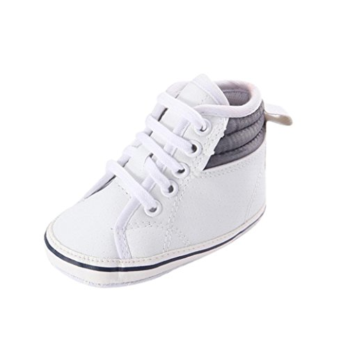 Babyschuhe Longra Babymädchen oder jungen Canvas Schuh Sneaker rutschfest weiche Sohle Kleinkind Lauflernschuhe Krippeschuhe (0 ~ 18 Monate) (11cm 0 ~ 6 Monate, White)