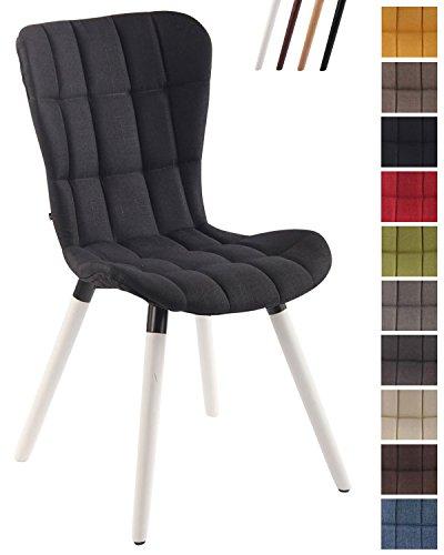 Clp sedia sala da pranzo elda v2 – sedia design soggiorno imbottita e trapuntata, con fodera in tessuto - sedia rétro moderna con alto schienale – sedia cucina con telaio in legno di faggio nero bianco