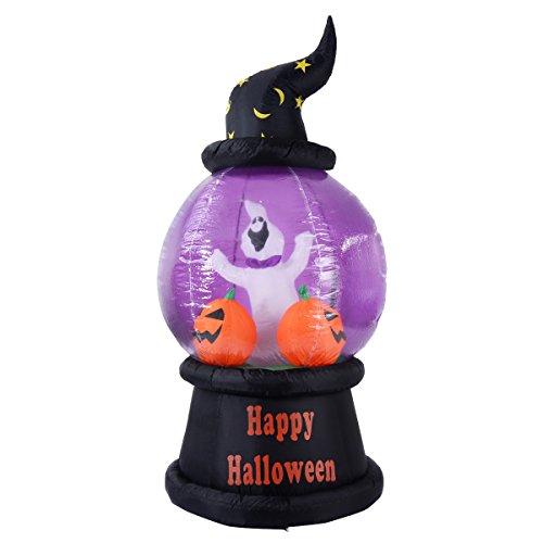 Goplus Halloween Aufblasbar Deko Kürbis Luftfiguren LED Beleuchtet Ghost Hexe Party mit LED Beleuchtung 210cm